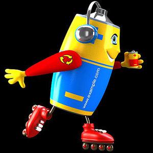 3d cartoon battery model