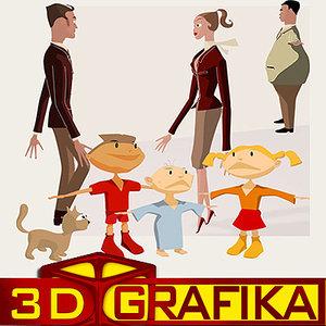 3d cartoon family people set model