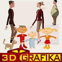 Cartoon people family set