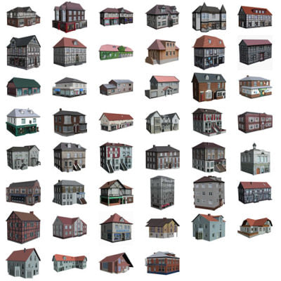set 46 polygonal houses 3d 3ds
