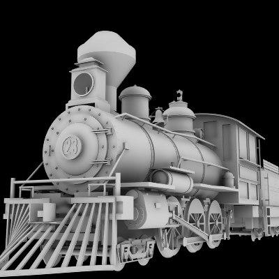 4-6-0 steam locomotive 3d obj