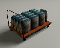 utility cart orange 3d model