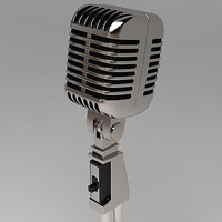 3dsmax retro old microphone