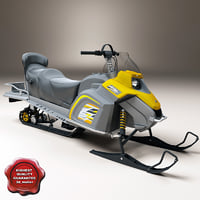 3d model of realistic snowmobile ski-doo tundra