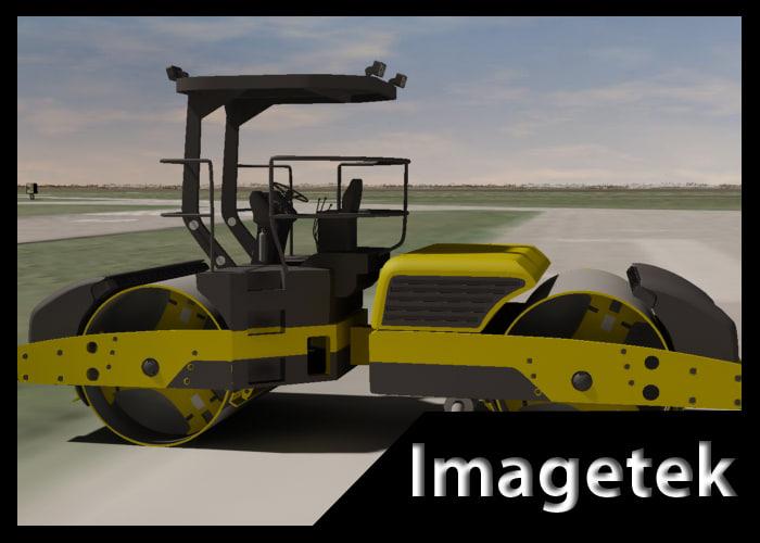 heavy construction asphalt roller 3d model