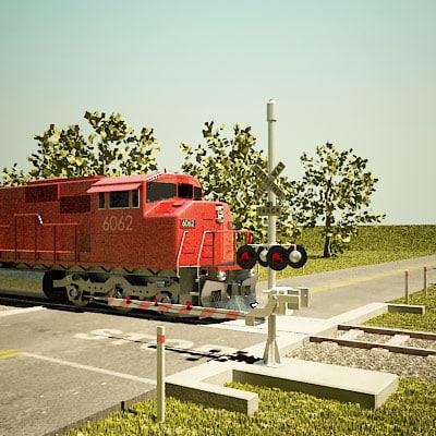 railroad crossing road 3d 3ds