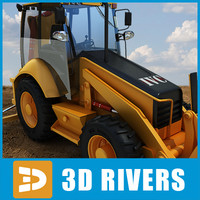 3d backhoe loader industrial vehicles