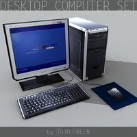 3d desktop computer set