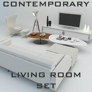 3d contemporary living room set