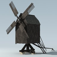 3d model historical windmill