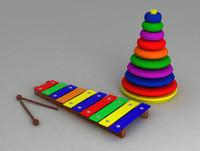 3d model toy baby set