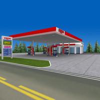 3dsmax exxon gas station