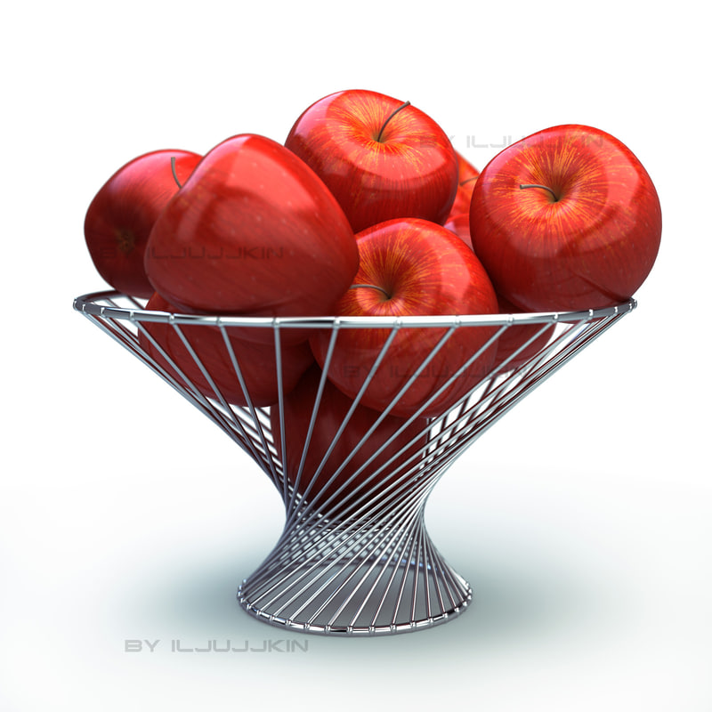 3d model basket apple red
