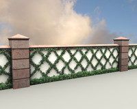 Garden Wall 3d Model, Low Poly