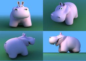 3d model hippopotamus toy