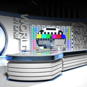 virtual tv studio set 3d model