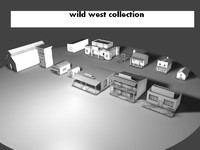 wild west- 13 objects-low poly