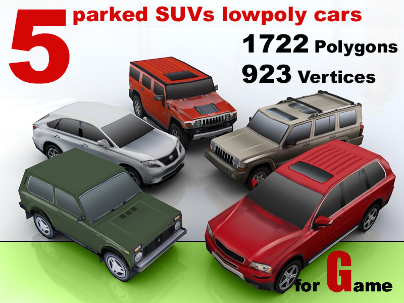 3d model parked suvs cars 5