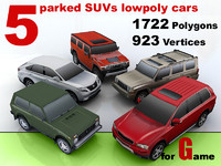 5 parked SUVs lowpoly cars