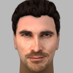 head christian bale hair 3d model