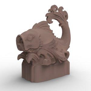 3d model balinesian fish sculpture