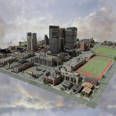 3d model city lights street