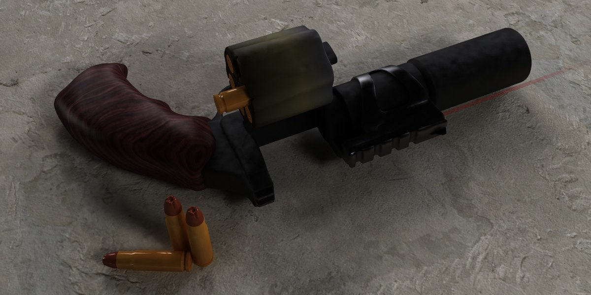 suppressed revolver 3d max