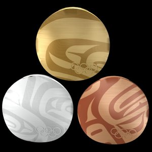 gold silver medals vancouver 3d model