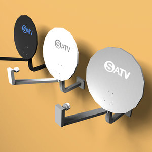 3d model 3 satellite dishes