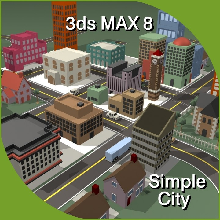 trendy simple city 3d model