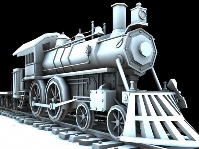 steam engine train 3d obj