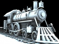 steam engine train 3d obj