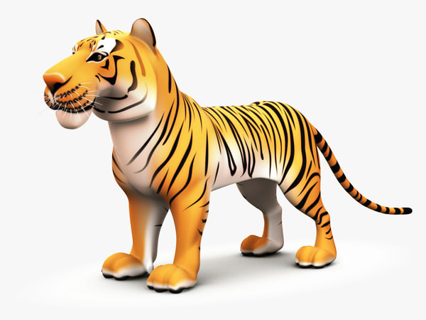 cartoon tiger 3d obj