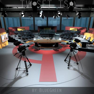 tv studio set 3d model