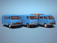 3d commercial van low-poly model