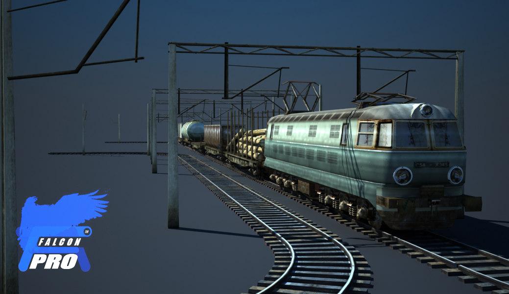 3d model train kit engin cargo