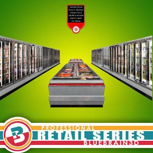3d model grocery store freezer aisle