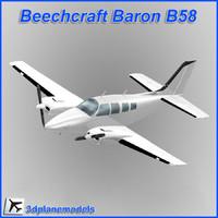 beechcraft baron b58 generic 3d max