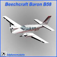 3ds max beechcraft baron b58 private