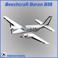 beechcraft baron b58 private 3d max