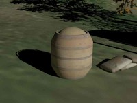 wood barrel with chicken feed.FBX