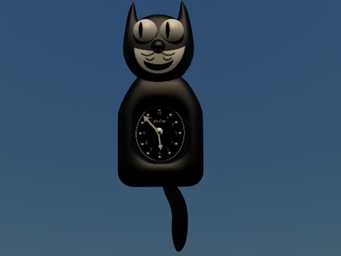 3d model cat clock