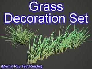 3d set decoration grasses