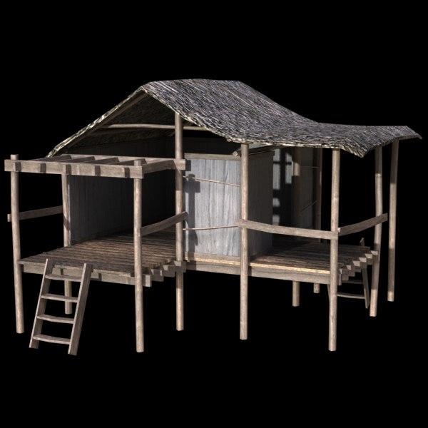 3d model of island hut