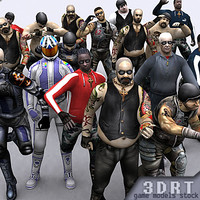 bikers gang male character 3d 3ds