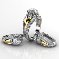 Engagement ring and earring 1 set