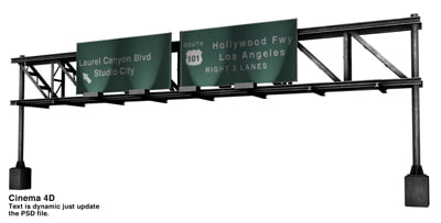3d model freeway sign