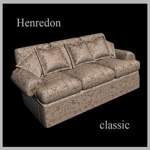 3d model henredon classic sofa