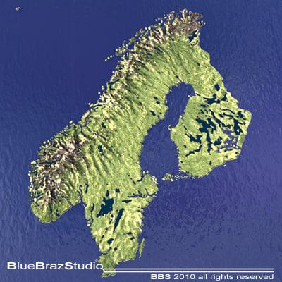 Norway Finland D Ds - Sweden map 3d