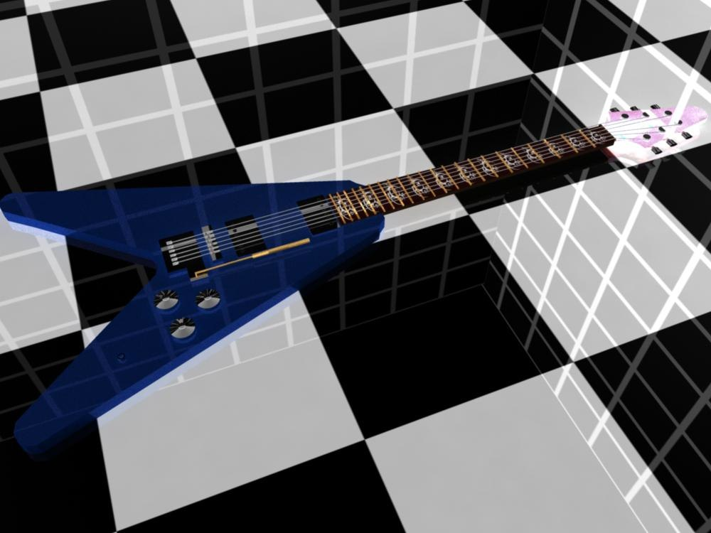 3d flying v guitar